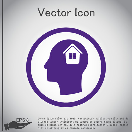 silhoutte: Vector Icon head think silhoutte vector man and his mind about  House icon. Home sign Illustration