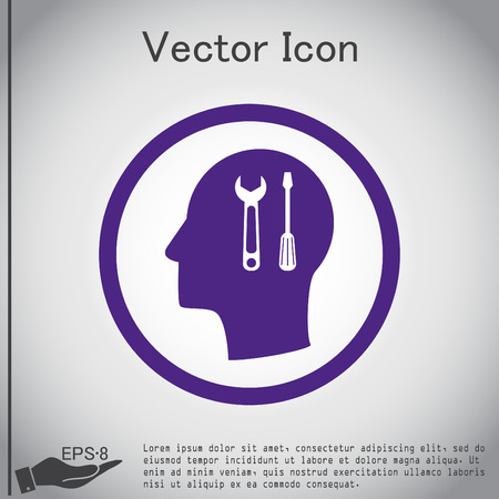 mind set: Vector Icon head think silhoutte vector man and his mind about symbol settings sign, screwdriver and wrench