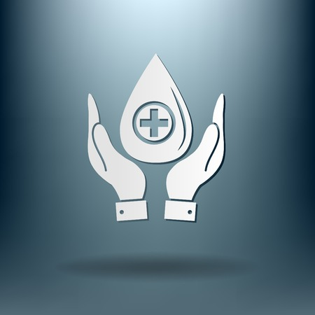 reflection of life: hands holding a drop donate. medical icon Illustration