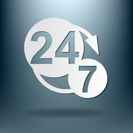 24h: 24 7 icon. open 24 hours a day and 7 days a week icons