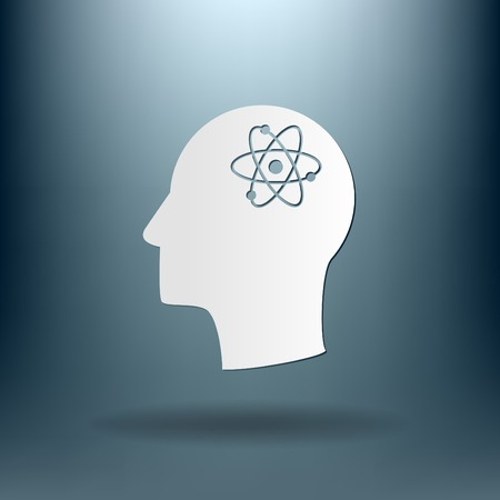 silhoutte: Vector Icon head think silhoutte vector man and his mind about the atom, molecule. the symbol of physics and chemistry. symbol icon of physics or chemistry . the study of science Illustration