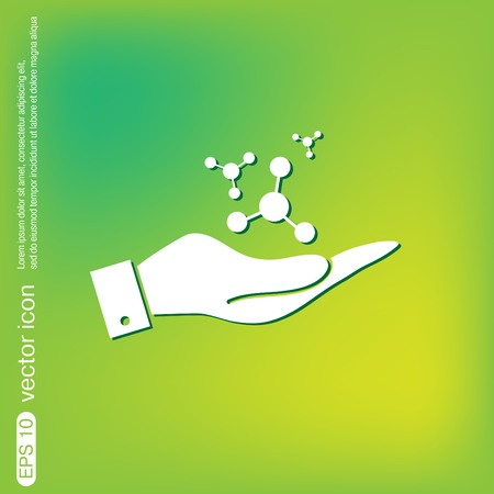 hand holding the atom, molecule. the symbol of physics and chemistry. symbol icon of physics or chemistry . the study of science Illustration