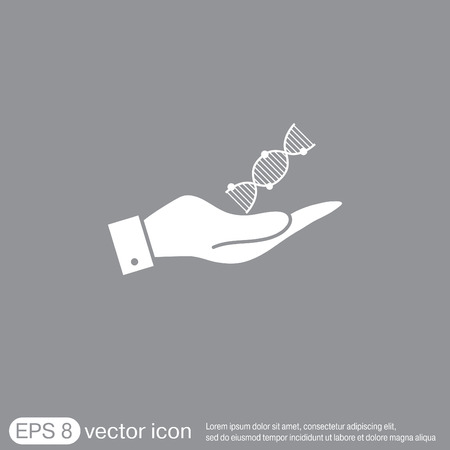 pull over: hand holding a DNA helix. Medical Research character. Symbol of medicine. Icon Biology and Genetics Illustration