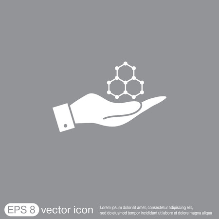 chemical compound: hand holding a Chemical compound. Symbol chemistry. Icon science