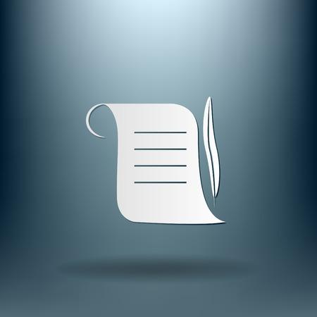 pergamino: Hoja de pergamino antiguo de papel y una pluma para escribir icono
