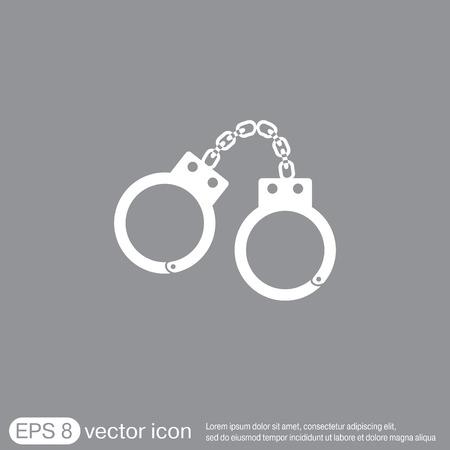 cuffs: handcuffs icon. symbol of justice . police icon Illustration