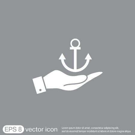 marine industry: hand holding a Nautical Anchor
