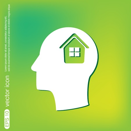 convoluted: Icon head think silhouette man and his mind about  House