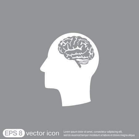 tête de Icon avec le cerveau