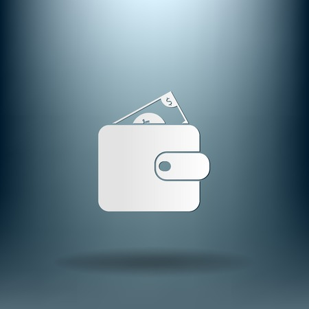 billfold: purse sign. symbol icon purse and dollar. money in your wallet Illustration