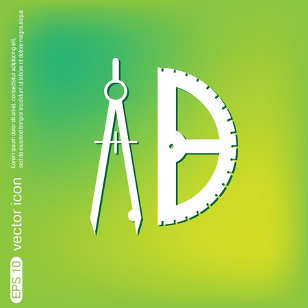 protractor: the compass and protractor. characters geometry. Education sign. symbol icon drawing and geometry Illustration