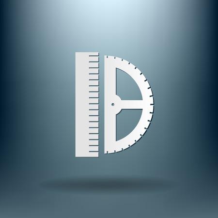 protractor: ruler and protractor symbol icon