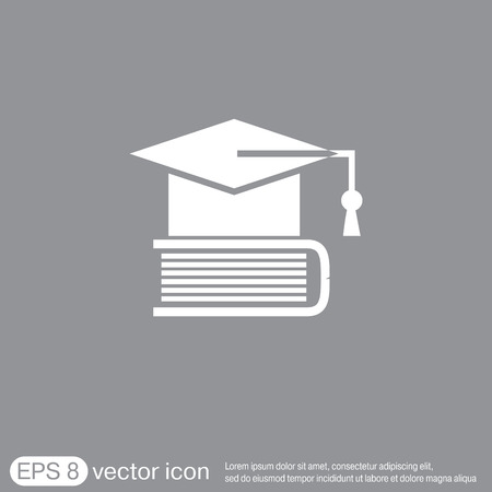 abstract academic: Graduate hat on the book. icon teachings. symbol of knowledge, college or high school