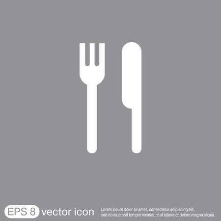 cibo: forchetta e coltello segno. simbolo pranzo. posate Vettoriali