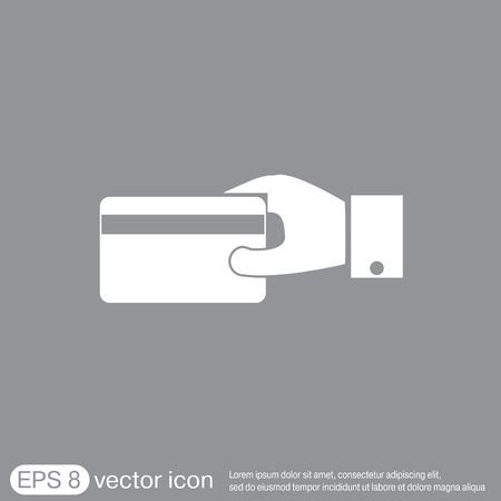 holding credit card: Hand holding credit card, vector, credit card in hand, Payment icon Illustration