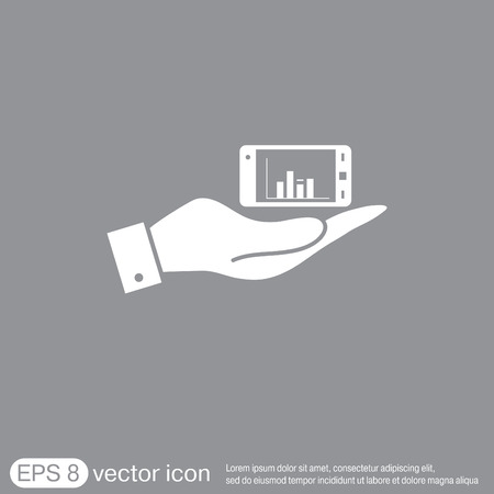 advertising column: hand holding a smartphone with diagram. Illustration