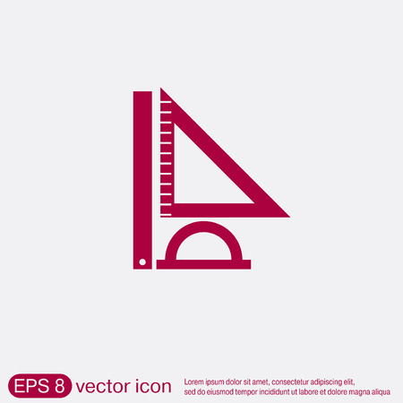 protractor: Ruler, protractor, triangle. Symbol of geometry and mathematics. Icon Training and Research