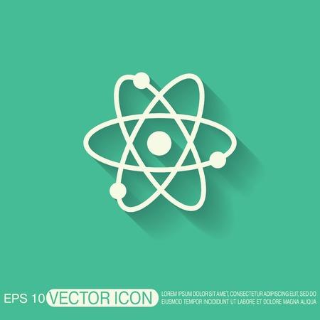 átomo, molécula. el símbolo de la física y la química. Símbolo del icono de la física o la química. el estudio de la ciencia