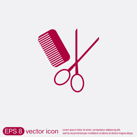hairdos: comb and scissors. barbershop. symbol of hair and beauty salon Illustration