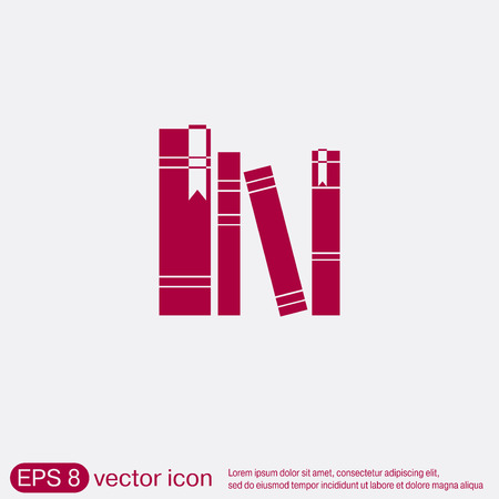 text books: book spine, spines of books. icon symbol of a science and literature Illustration