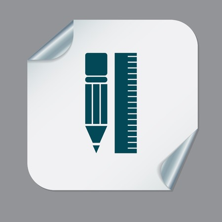 ruler: ruler and pencil. characters geometry. Education sign, symbol icon drawing and geometry Illustration