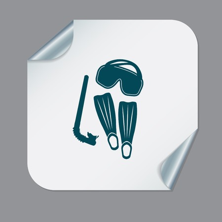 diving mask, fins and snorkel. diving symbol. sea holiday icon