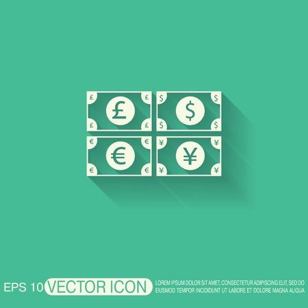 pound sterling: signo factura dinero. Icono del símbolo del dólar, la libra esterlina, el yen japonés, el euro