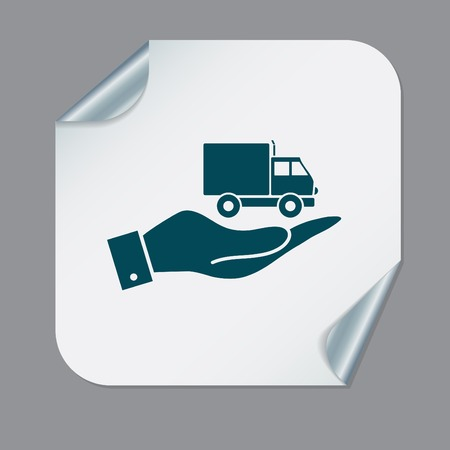 laden: hand holding a Truck. Logistic icon. Transportation symbol. symbol icon laden truck. carriage of the goods or things