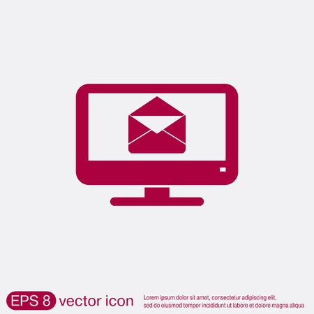 envelop: monitor with symbol a letter envelope, mail icon