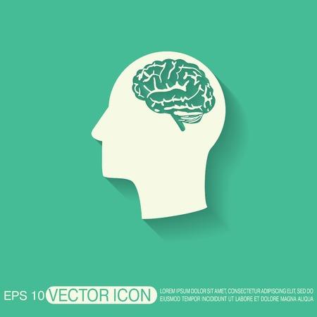 mente humana: Vector Icon cabeza con el cerebro. La mente y la ciencia