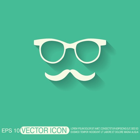 cool guy: mustache and glasses. hipster icon symbol