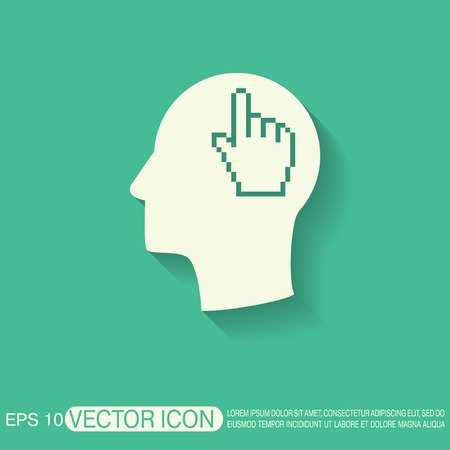 silhoutte: Vector Icon head think silhoutte vector man and his mind about mouse hand cursor. pixel view Illustration