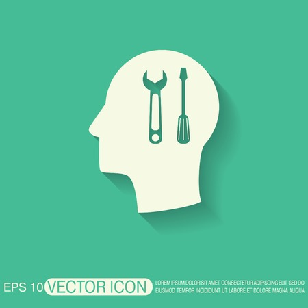 silhoutte: Vector Icon head think silhoutte vector man and his mind about symbol settings sign, screwdriver and wrench