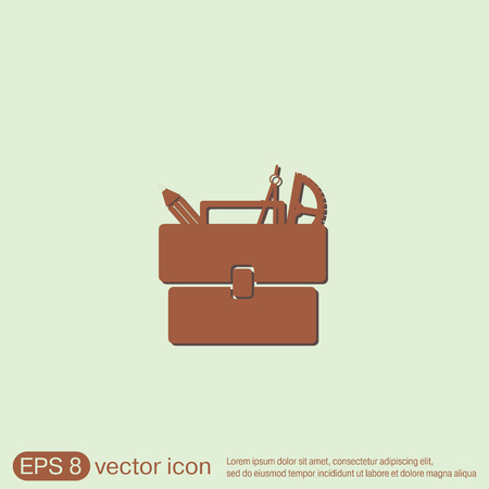 haversack: School briefcase bag with stationery. Symbol office or school.