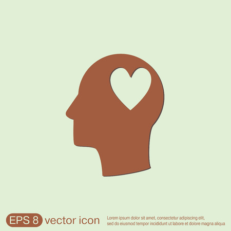 silhoutte: Vector Icon head think silhoutte vector man and his mind about  heart sign.  valentine icon