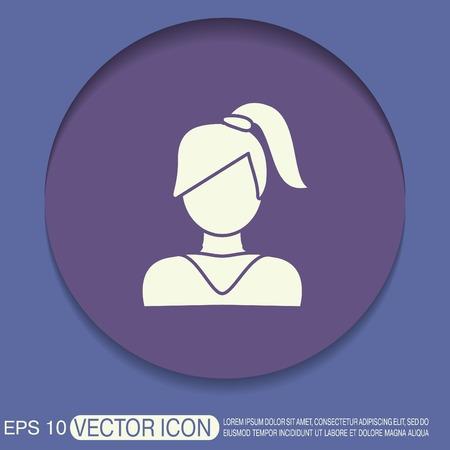 simbolo uomo donna: Un avatar femminile. ragazza con la coda di capelli. Avatar di una donna con i capelli lunghi e frangetta