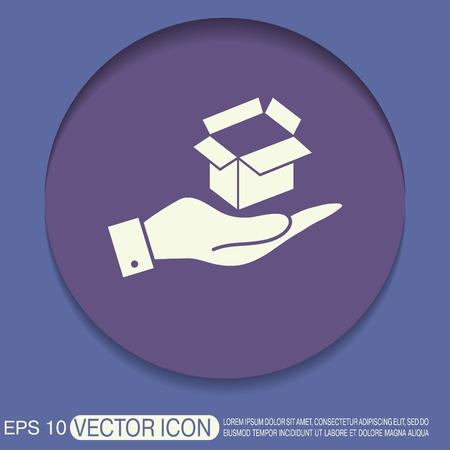 merchandize: hand holding a Opened cardboard box Illustration