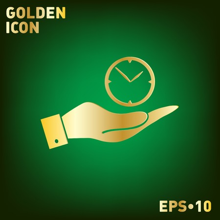 hand holding a clock. watch sign, Icon watch. symbol time