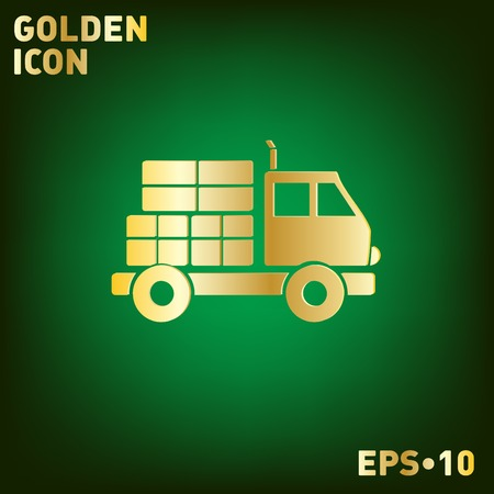 laden: Truck. Logistic icon. Transportation symbol. symbol icon laden truck. carriage of the goods or things