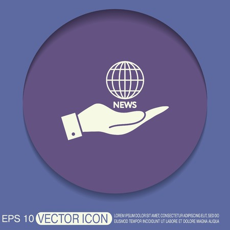 globe  the terrestrial ball: hand holding a globe symbol. news. Symbol news. Icon globe planet Illustration