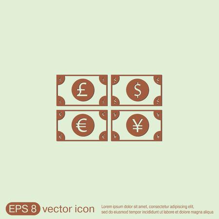 libra esterlina: signo factura dinero. Icono del símbolo del dólar, la libra esterlina, el yen japonés, el euro