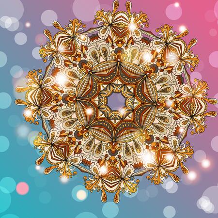 handdrawn: Circle mandala lace hand-drawn kaleidoscope ornament card. Vector background.