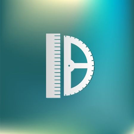 millimeters: ruler and protractor. characters geometry. Education sign. symbol icon drawing and geometry Illustration