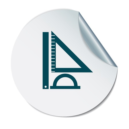 Ruler, protractor, triangle. Symbol of geometry and mathematics. Icon Training and Research
