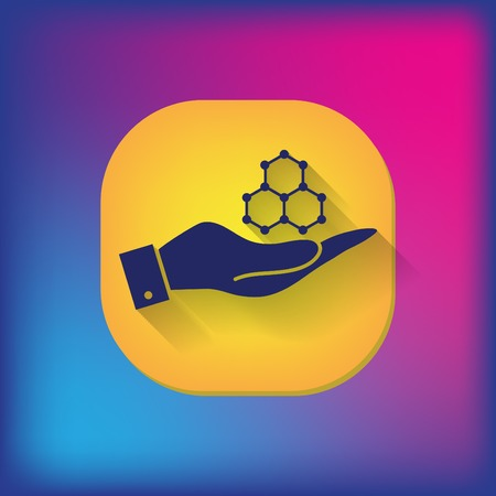 dependence: hand holding a Chemical compound. Symbol chemistry. Icon science