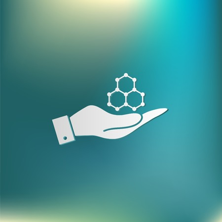 hand holding a Chemical compound. Symbol chemistry. Icon science