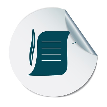 pluma de escribir antigua: Hoja de pergamino antiguo de papel y una pluma para escribir icono