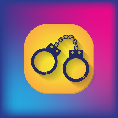 detainee: handcuffs icon. symbol of justice . police icon Illustration