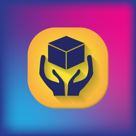 packer: hands holding box logistic icon Illustration