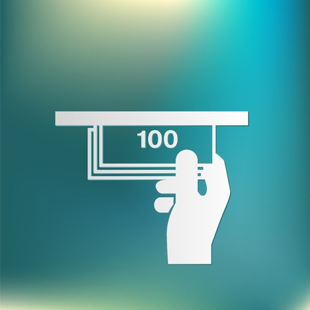 withdraw: money ATM. symbol issuing or receiving money from an ATM. financial icon. money is given. Illustration